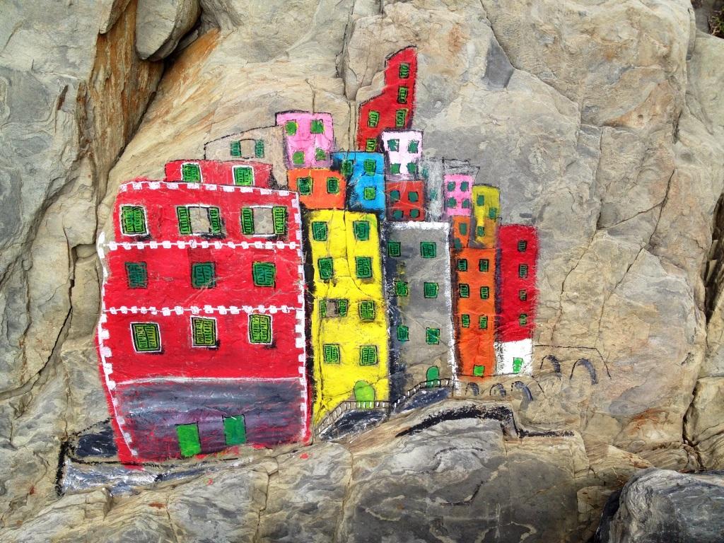 Beach art in Riomaggiore, Cinque Terre