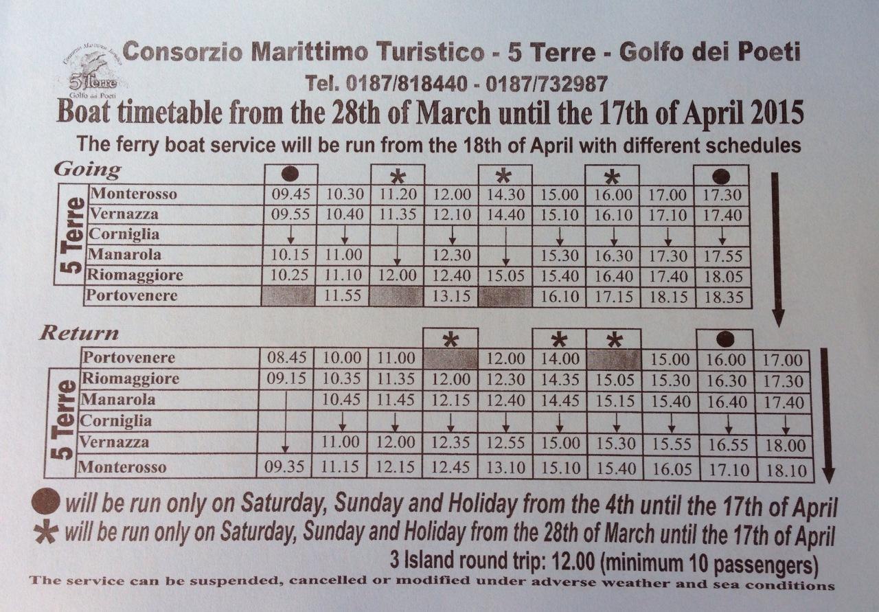 Cinque Terre Ferry Schedule
