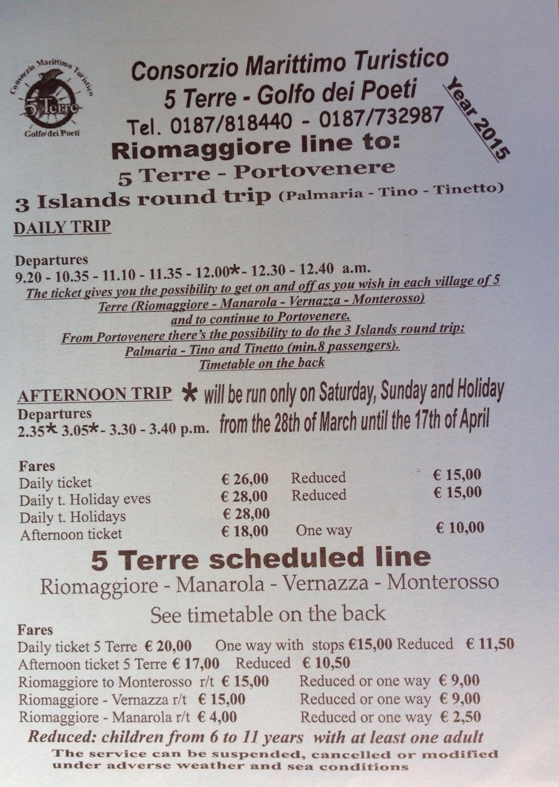 Cinque Terre ferry pricing