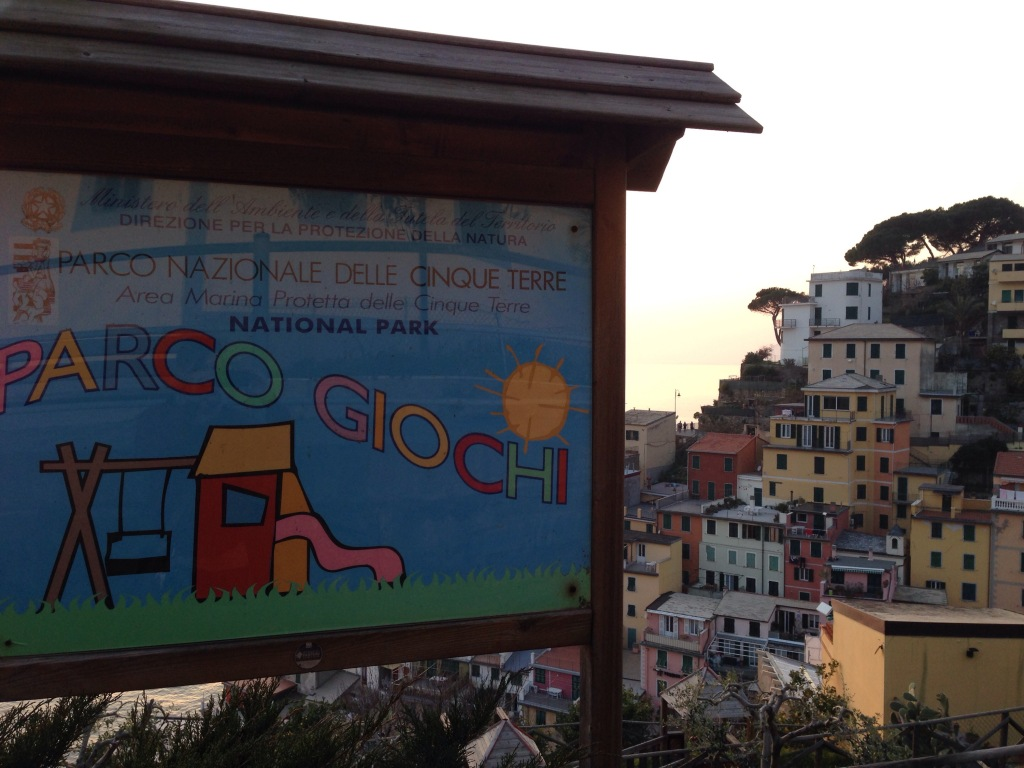 Riomaggiore's playground is located off the beaten path (but the views make it worthwhile!)